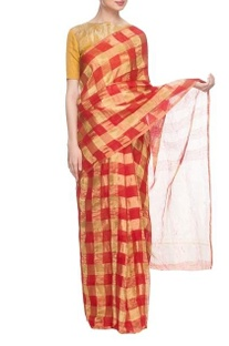 Red & gold silk handwoven sari