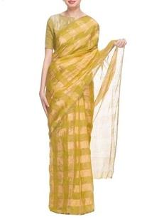 Olive green & gold silk handwoven sari