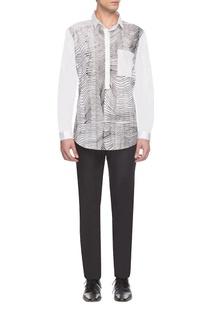 White & black zigzag print shirt