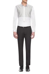 White & grey checks yoke shirt