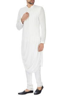 White rayon draped style kurta with churidar