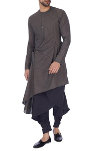Grey solid draped kurta
