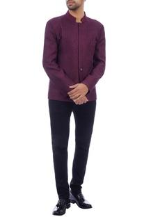 Plum wool bandhgala jacket