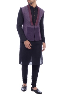 Purple chanderi sleeveless jacket