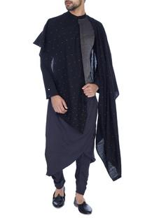 Black & grey embellished draped kurta
