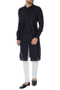 Black jacket layer linen kurta