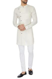 White cross-over wrap linen kurta