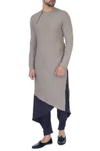 Grey solid kurta
