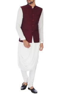 Maroon embroidered nehru jacket