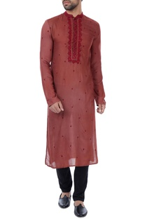 Maroon hand embroidered threadwork milk fiber kurta