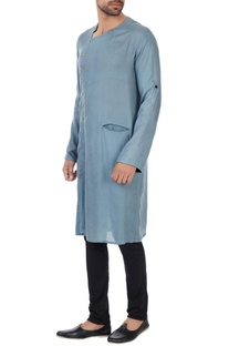 Sky blue naturally dyed wrap style milk fiber kurta