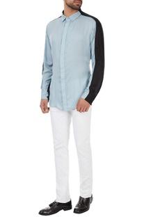 Black & blue color-block collar shirt