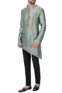 Metallic green asymmetric organic silk kurta