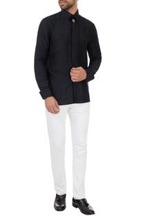 Black organic silk collar shirt with signature tree motif