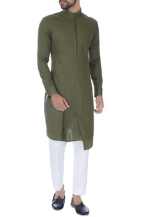 Olive green zipper style paneled kurta