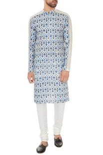 Light grey cotton printed kurta with off white cotton lycra churidar