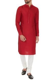 Maroon cotton silk solid kurta with off white cotton lycra churidar