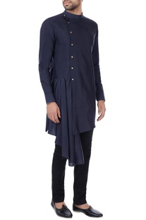 Navy blue draped layer kurta