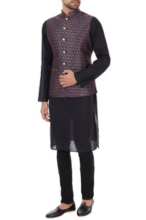 Navy blue brocade silk nehru jacket