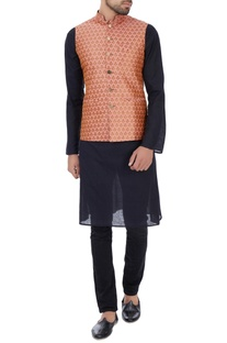 Light pink floral brocade nehru jacket