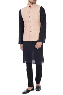 Rose-peach dori embroidered nehru jacket