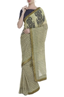 Block Printed Saree With Embroidered  Blouse