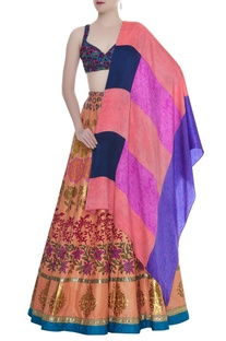 Hand Embroidered Blouse With Printed Lehenga