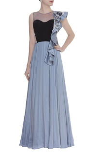 One Shoulder Ruffle Embroidered Gown
