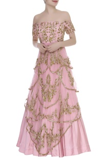 Off Shoulder Sequin Embroidered Gown