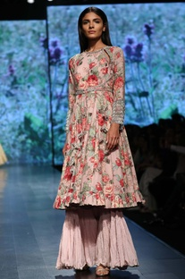 Floral printed kurta sharara set