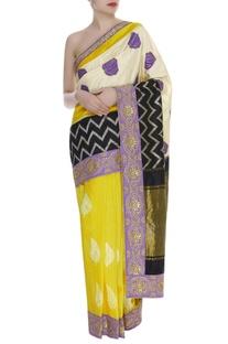 Pochampally Sari with Block Printed Pallu & unstitched blouse