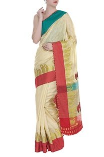 Sari with Paisley Weaves & unstitched blouse