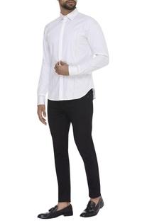 Panel Plain Collared Shirt
