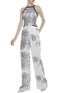 Floral Print Halter Neck Jumpsuit