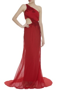 One Shoulder Cutout Gown