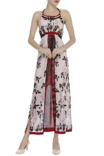 Side Slit Halter Neck Dress