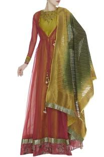 Cutdana Embroidered Anarkali With Jacket & Dupatta