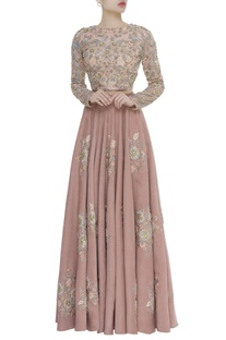 Floral Jaal Embroidered Blouse With Lehenga