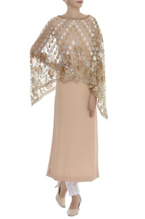 Kurta With Attached Sequin Embroidered Cape