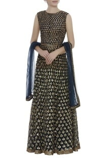 Sequin Embroidered Anarkali With Churidaar & Dupatta