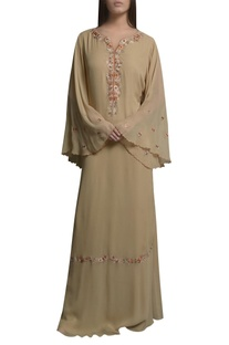 Embroidered floral thread embroidered kaftan dress