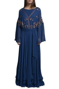 Embroidered layered kaftan dress with belt