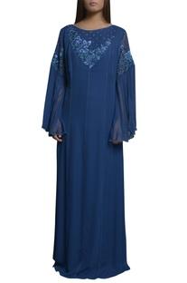 Thread embroidered kaftan dress