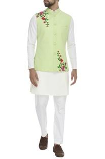 Floral embroidered nehru jacket