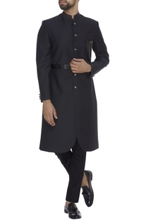 Faux leather sherwani with waistbelt