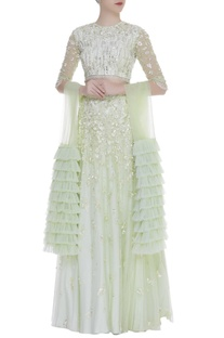 Embroidered lehenga set with frill layered dupatta