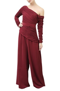 One Shoulder Pleated Bodice Jumpsuit