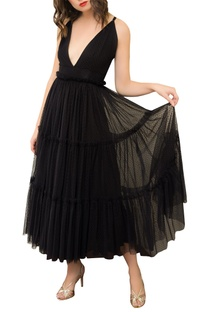 V Neck Tiered Dress With Frills