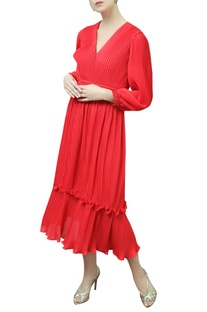 Puff Sleeves Pleated Dress