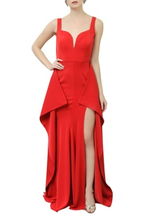 Structured Gown With Side Drapes